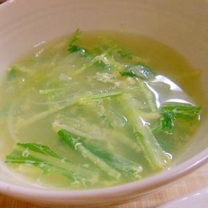 水菜と玉葱のコンソメスープ