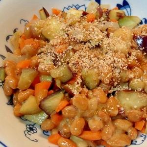 炒め野菜の納豆和え