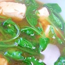 豆腐とうろぬき大根葉のみそ汁