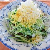 錦糸卵とキュウリのお蕎麦