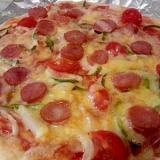 お家でミックスピザ(^^)