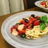 タコマリネで簡単*トマトとオリーブの冷製パスタ