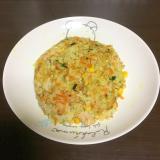 旨い療養食(彩野菜と水煮鮭のカレーピラフ風ごはん)