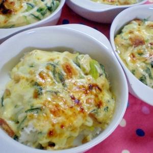 小松菜+はんぺんの和風豆腐ドリア