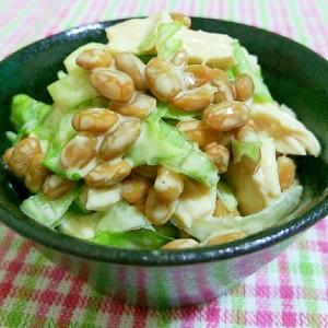 マヨ×生姜❀鶏肉とレタスの納豆和え