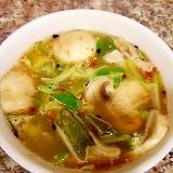 マッシュルームとキャベツのグリーンカレースープ