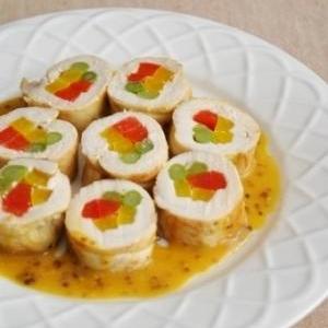 彩り野菜のチキンロール~マスタードソース~