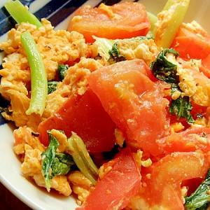 トマトと小松菜の炒め物