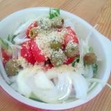 野菜たっぷり☆トマトとオリーブのサラダ