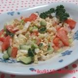 砂丘らっきょうと白菜・きゅうり・トマトのサラダ