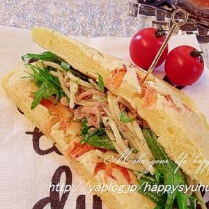 ホットケーキでツナパスタサラダ☆サンドイッチ