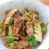 豚肉味噌焼きミツバと筍しらたき炒め