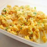 お弁当 竹輪と葱とすりごまの卵炒め丼