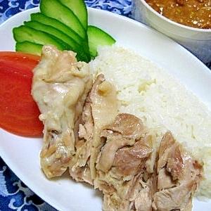 炊飯器deカオマンガイ(海南鶏飯)