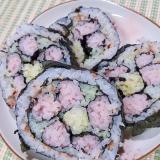 飾り巻き寿司 風 デコふりかけで 花おにぎり