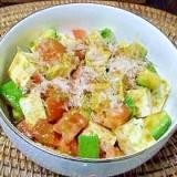 和風に醤油味で! トマト+アボカドと豆腐のサラダ