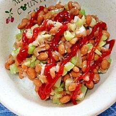 納豆の食べ方-ブロッコリーの茎&ケチャップ♪