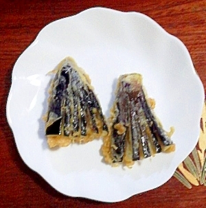 飾り切り茄子の天ぷら