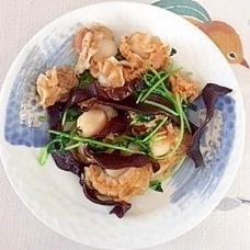 ベビー帆立、豆苗、きくらげの炒め物
