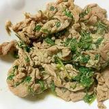 豚肉とラディッシュの葉のニンニク炒め