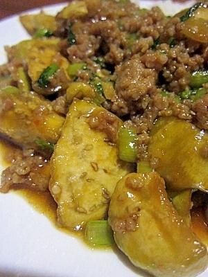 茄子と豚挽きの甘辛煮(小松菜入り♪)