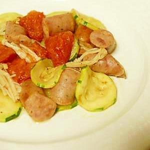 美味しい♪ ズッキーニ・トマト・ソーセージの炒め物