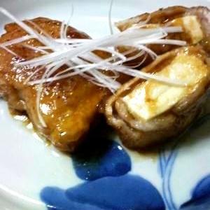厚揚げ豆腐の豚肉巻き