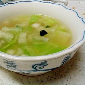 レタスとズッキーニの粒々中華スープ