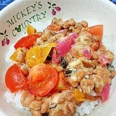 納豆の食べ方-トマト&漬物三昧♪