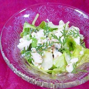 くずし豆腐とレタス・人参葉の簡単サラダ