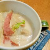 白菜の豆乳スープ