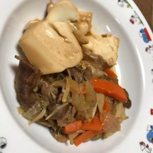 すき焼きのタレで野菜と豆腐煮
