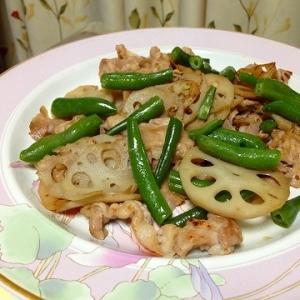 蓮根豚肉インゲンのオリーブオイル炒め