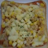ツナとコーンのピザトースト(^^)