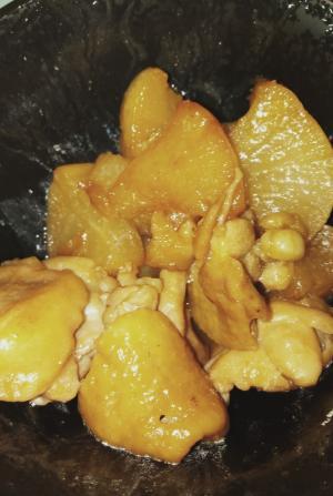冷凍大根と鶏もも肉の甘辛煮