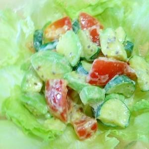 アボガド・ズッキーニ・トマトのヨーグルト和え
