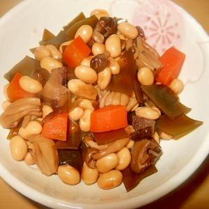 常備食に★水煮大豆・昆布・きのこの煮物