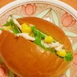 簡単★蒸し鶏と水菜とコーンのサンドイッチ