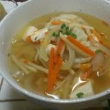 冷凍餃子の5分で具だくさんスープ