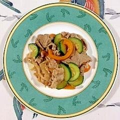 豚バラ肉とズッキーニ、パプリカの炒め物