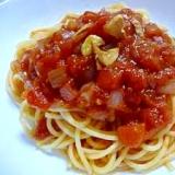 ホールトマトと玉ねぎのパスタ