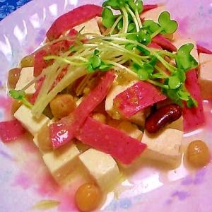 ボロニアソーセージと豆腐と豆のサラダ