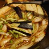 ナスとニラのピリから味噌スープ