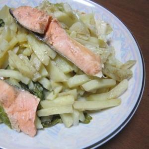 鮭とジャガイモの蒸しに