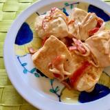 豆腐とカニカマのオイマヨ炒め