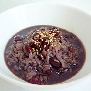 アントシアニンたっぷり煮汁を使った黒豆粥