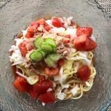 簡単、トマトの冷たいパスタ
