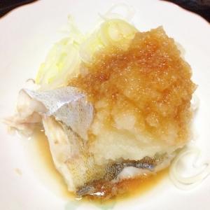 鱈の酒蒸し、たっぷり大根おろしネギとポン酢で食べる