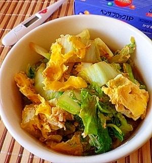 風邪っぴきによる ざくざく食べるピリ辛白菜玉子汁