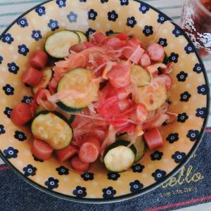 ズッキーニとソーセージのさっぱりトマト春雨